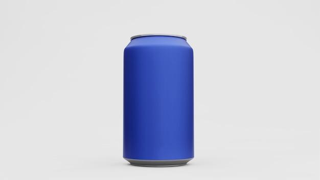 Lattina di alluminio o confezione di soda mock up isolato su superficie bianca. rendering 3d