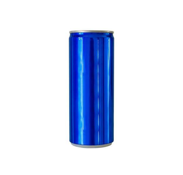 La soda della bevanda analcolica di colore blu di alluminio può isolata su fondo bianco con il percorso di residuo della potatura meccanica