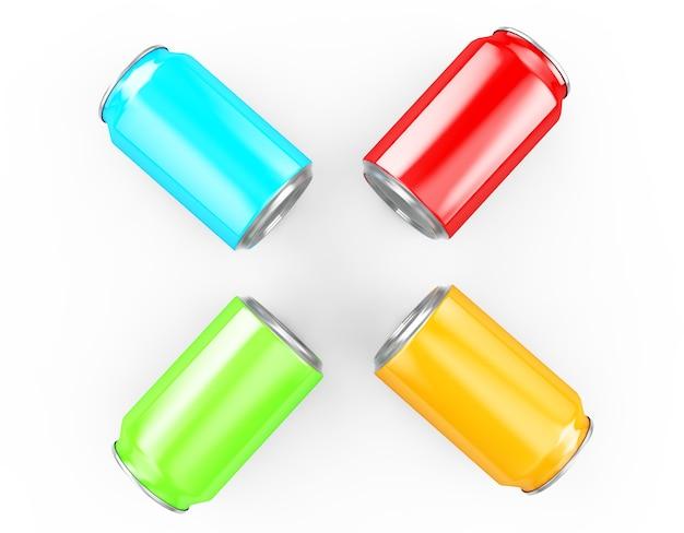 Lattina di alluminio rendering 3d, ideale per birra, birra chiara, alcol, bibite, bibite gassate, bibite gassate, limonata, cola, energy drink, succhi di frutta, acqua