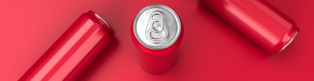 Rendering 3d di latta di soda rossa in alluminio