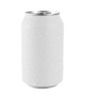 Lattina di alluminio bianca su sfondo bianco, goccia d'acqua sulla lattina. il file contiene un tracciato di ritaglio così facile da lavorare.