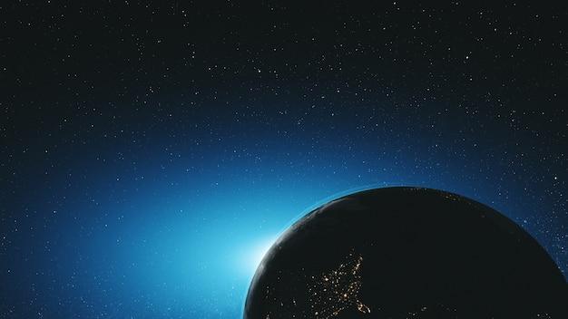 Incredibile terra ruota orbita stellata nello spazio esterno