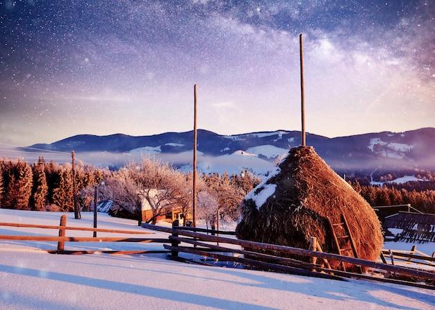 Luce solare stupefacente delle montagne di mattina. carpazi, ucraina, europa.