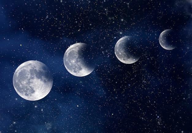 Spazio incredibile, cielo con stelle e luna durante l'eclissi, sfondo