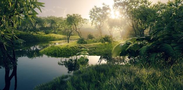 Ambiente della foresta pluviale tropicale amazzonica con fiume calmo in una bellissima luce del tramonto 3d rendering