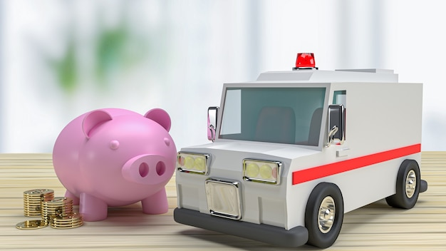 L'ambulanza e il salvadanaio sul tavolo di legno per l'assistenza sanitaria o il concetto medico 3d rendering