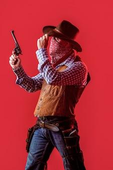 Bandito americano in maschera, uomo occidentale con cappello
