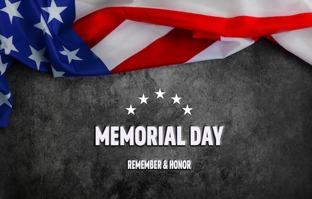 Bandiera americana da vicino su sfondo scuro per il memorial day o il 4 luglio flag day