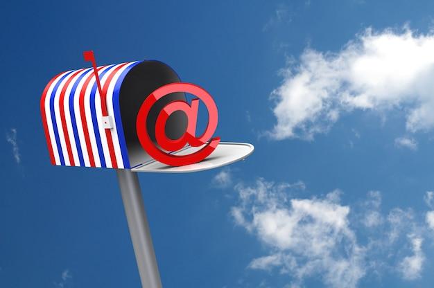 Cassetta postale bandiera americana. immagine generata digitalmente. rendering 3d