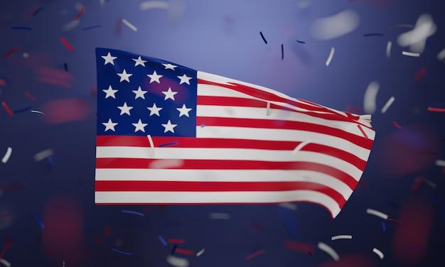 Bandiera americana su uno sfondo viola con coriandoli