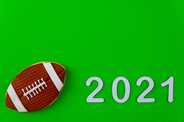 Sfondo di stagione di gioco di football americano per il 2021. concetto di sport americano.