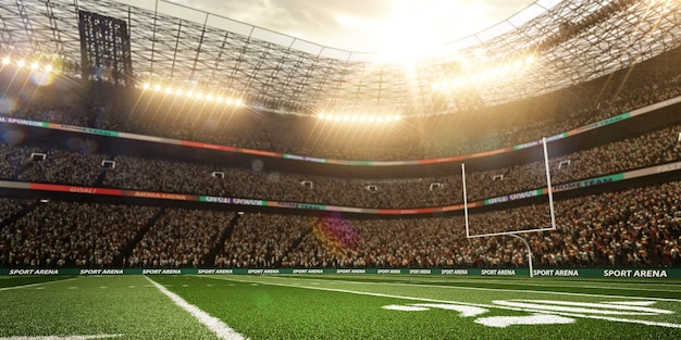 Stadio di football americano con sfondo di riflettori, rendering 3d