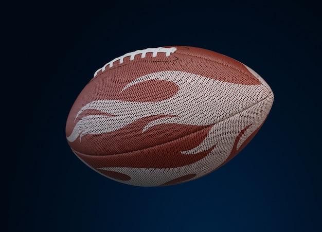 Football americano con trama di fuoco su oscurità