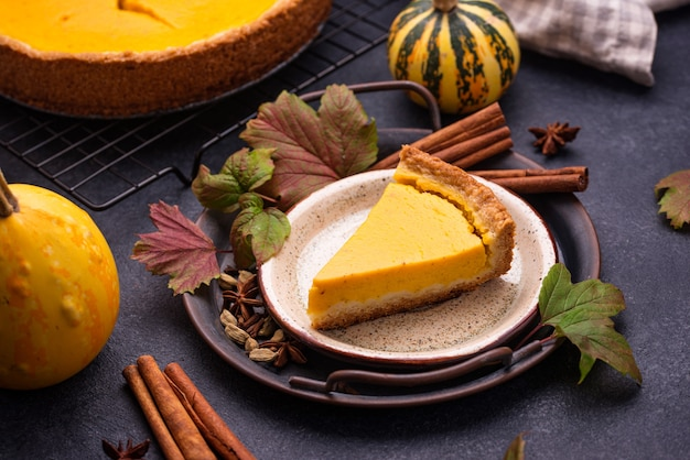 Torta di zucca americana. dolce dolce autunnale tradizionale