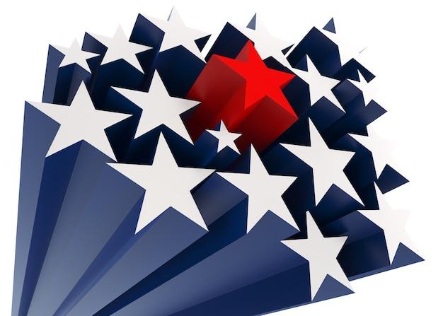 Lo sfondo della stella americana. rendering 3d