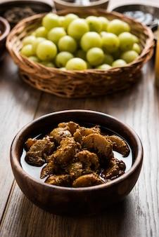 Amla o indian gooseberry ed è composto da prodotti come chyawanprash, juice, digestive supari o mouth freshner, powder, sweet murabba, pickle