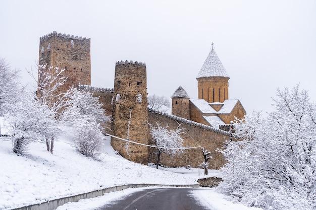 Ananuri è un complesso di castelli sul fiume aragvi in inverno