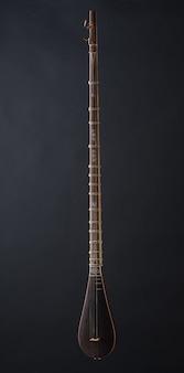 Antico strumento musicale a corde asiatico su sfondo nero con retroilluminazione