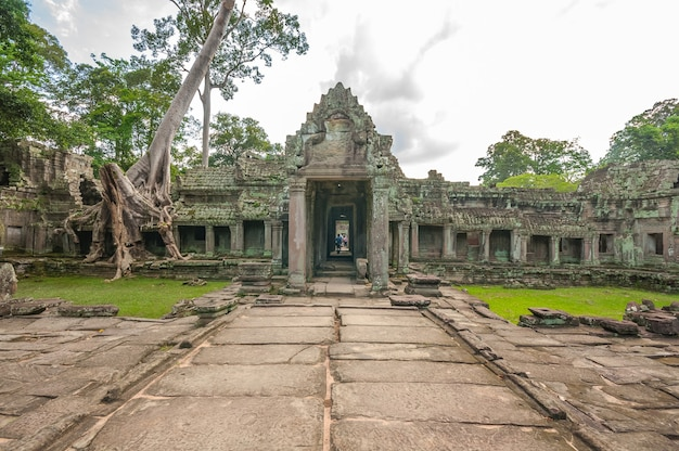 Antico tempio khmer buddista ad angkor wat, tempio di preah khan
