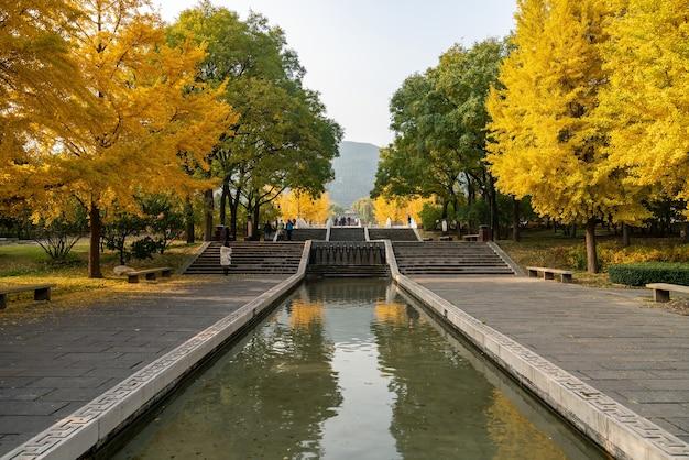 I loft e gli alberi di ginkgo della costruzione antica sono in jinci park taiyuan shanxi cina