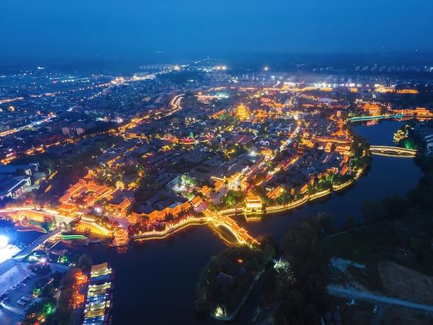 L'antica città di taierzhuang, shandong, cina dal punto di vista della fotografia aerea