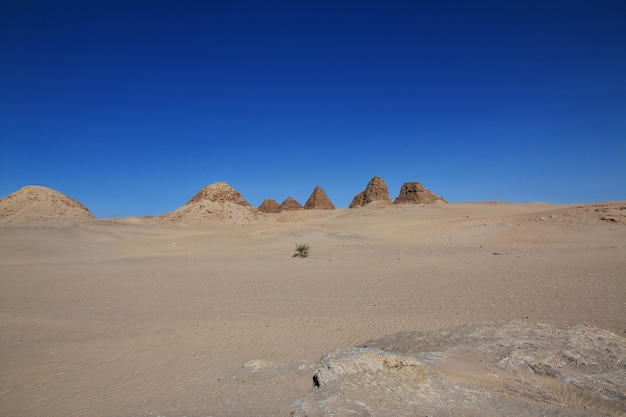 Antiche piramidi di nuri nel deserto del sahara, sudan