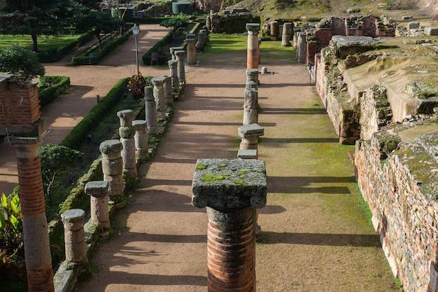Antiche colonne romane di augusta emerita corrente merida in spagna.