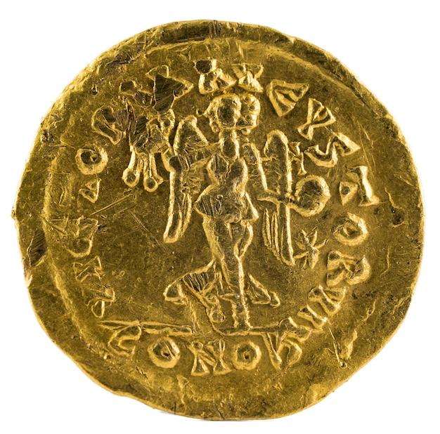 Antica moneta romana tremissis d'oro dell'imperatore leone i.