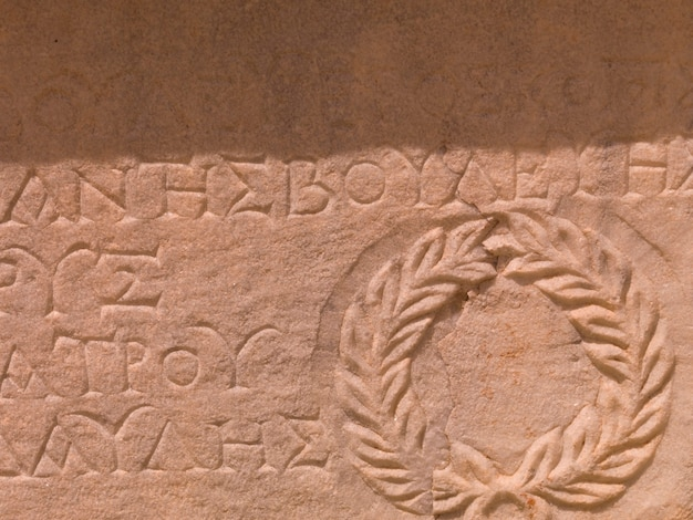Scritture antiche ad efeso in kusadasi turchia