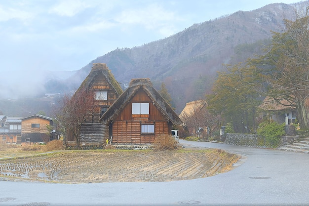 Antico villaggio di shirakawago, prefettura di gifu, giappone