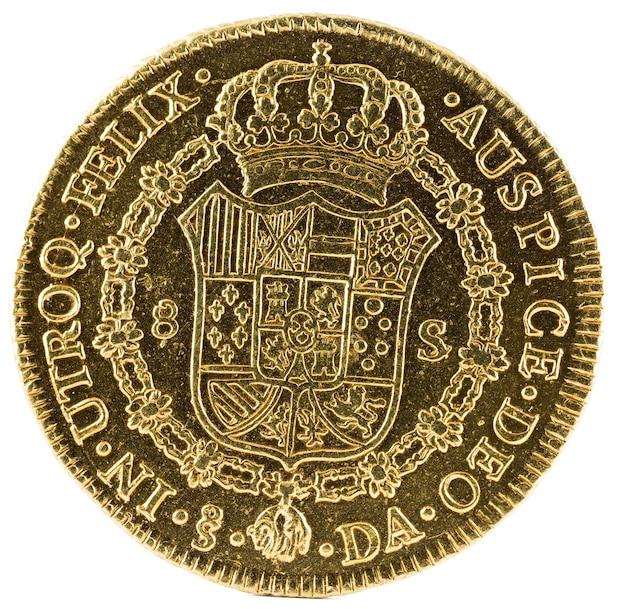 Antica moneta d'oro spagnola del re carlos iii.