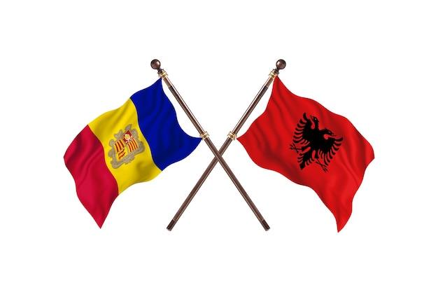 Andorra contro albania due bandiere di paesi background