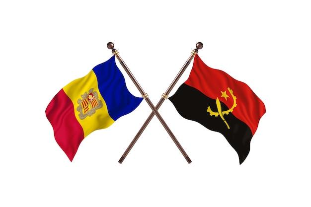 Andorra contro l'angola due bandiere di paesi background
