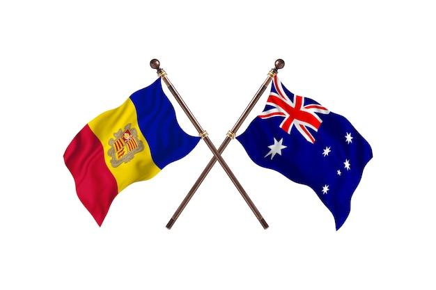 Andorra contro australia due bandiere di paesi background