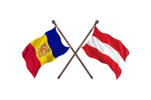 Andorra contro l'austria due bandiere di paesi background