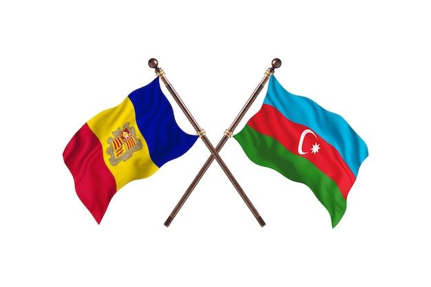 Andorra contro azerbaigian due bandiere di paesi background