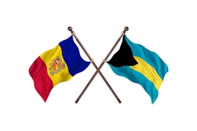 Andorra contro le bahamas due paesi bandiere sfondo