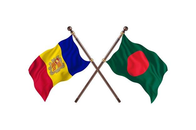 Andorra contro bangladesh due paesi bandiere sfondo