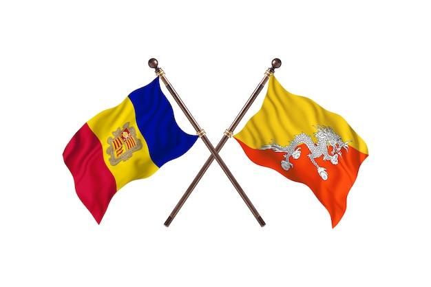Andorra contro bhutan due bandiere di paesi background