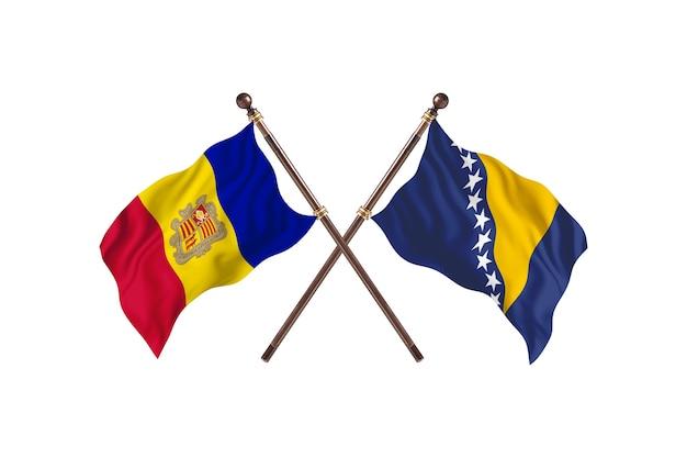Andorra contro bosnia ed erzegovina due bandiere di paesi background