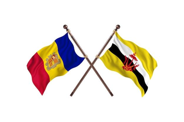 Andorra contro brunei due bandiere di paesi background