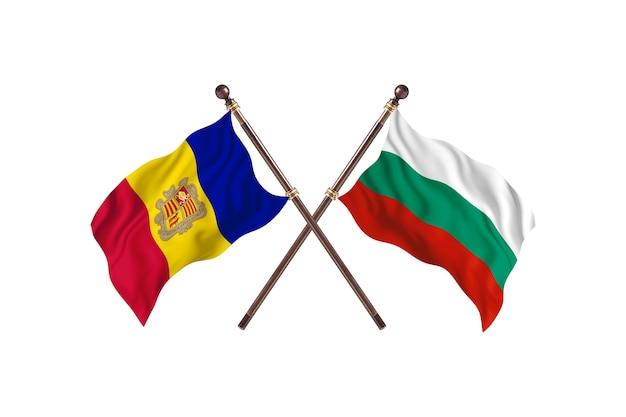Andorra contro la bulgaria due bandiere di paesi background