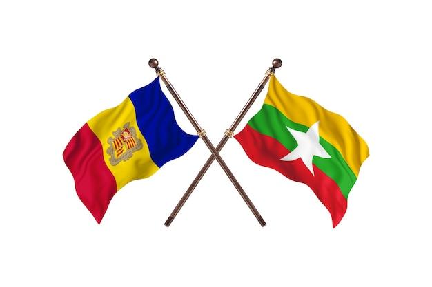 Andorra contro birmania due paesi bandiere sfondo