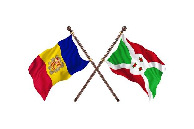 Andorra contro burundi due bandiere di paesi background