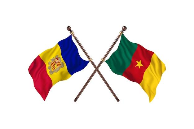 Andorra contro il camerun due bandiere di paesi background