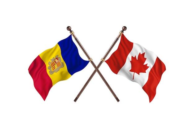 Andorra contro il canada due bandiere di paesi background