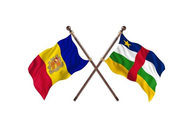 Andorra contro repubblica centrafricana due bandiere di paesi background