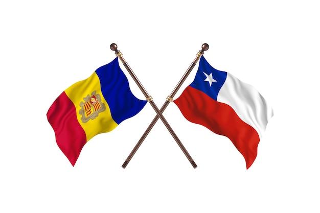 Andorra contro cile due paesi bandiere background