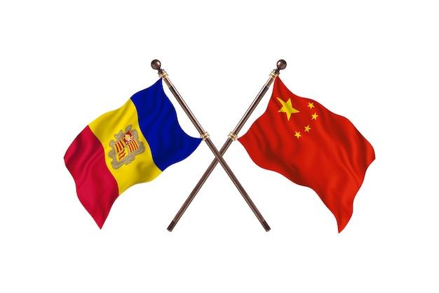 Andorra contro cina due paesi bandiere sfondo
