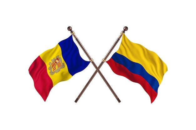 Andorra contro la colombia due bandiere di paesi background